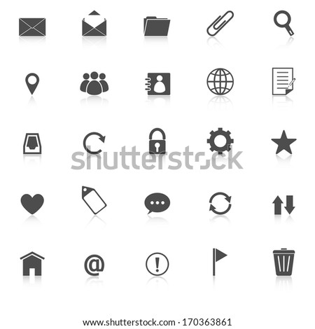 Mail icons with reflect on white background, stock vector - stock vector