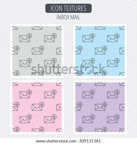 Mail inbox icon. Email message sign. Download arrow symbol. Diagonal lines texture. Seamless patterns set. Vector - stock vector