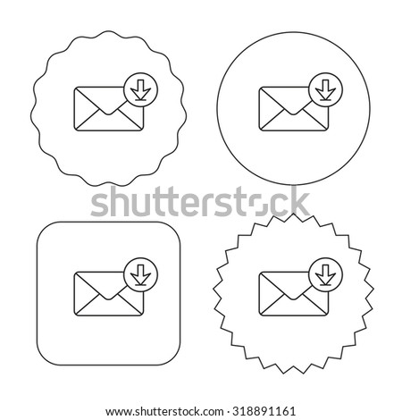 Mail inbox icon. Email message sign. Download arrow symbol. Flat circle, star and emblem buttons. Labels design. Vector - stock vector