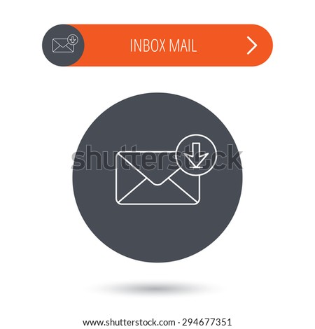 Mail inbox icon. Email message sign. Download arrow symbol. Gray flat circle button. Orange button with arrow. Vector - stock vector
