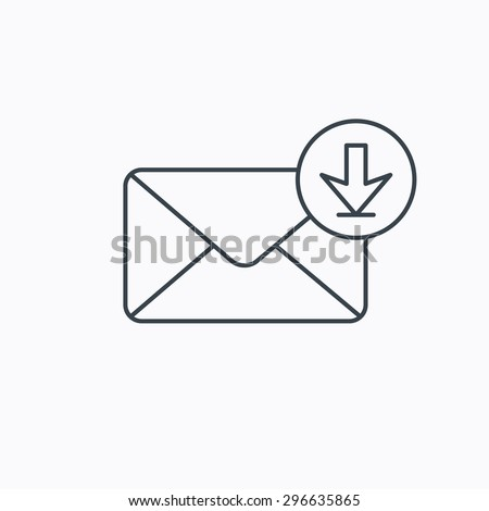 Mail inbox icon. Email message sign. Download arrow symbol. Linear outline icon on white background. Vector - stock vector
