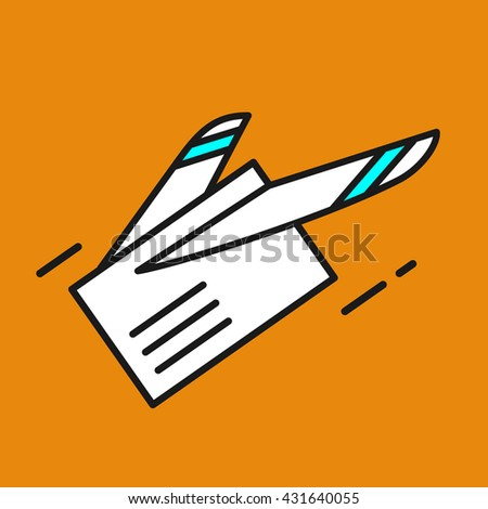 Mail. Letter. E-mail. Fast delivery of letters. Airmail. Vector icon - stock vector