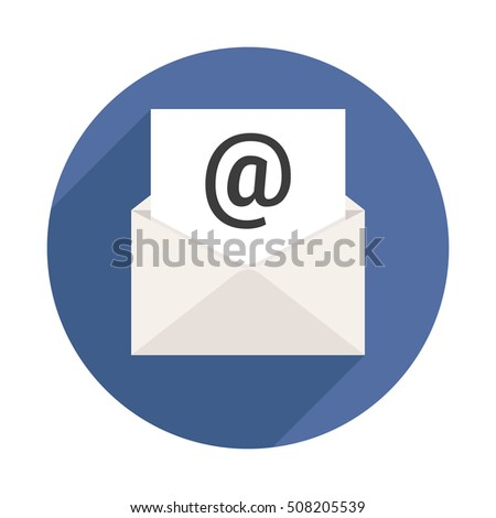 Mail Letter Long Shadow Icon