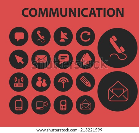 mail, message, communication isolated icons, signs, symbols, illustrations, silhouettes, vectors set - stock vector