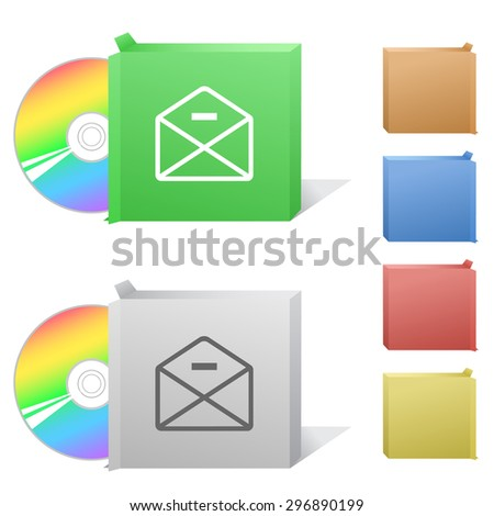 mail minus. Box with compact disc. - stock vector