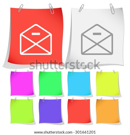 mail minus. Vector note papers. - stock vector
