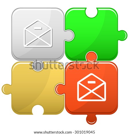 mail minus. Vector puzzle. - stock vector