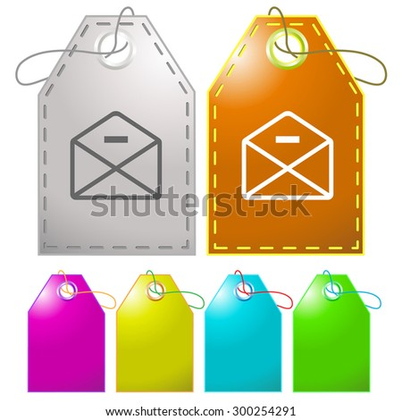 mail minus. Vector tags. - stock vector