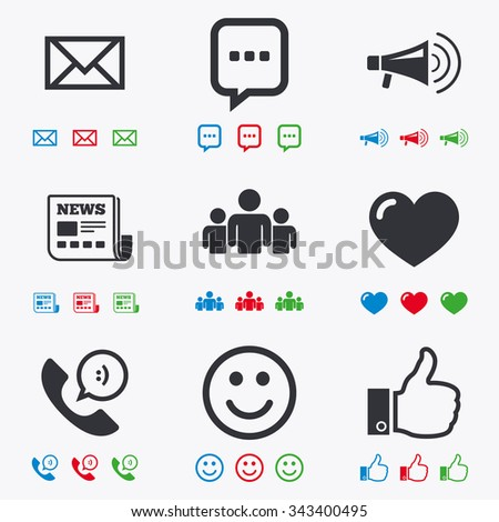 Mail, news icons. Conference, like and group signs. E-mail, chat message and phone call symbols. Flat black, red, blue and green icons.