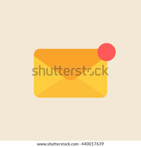 Mail notice. Concept of support, spam, document, counter incoming, mobile apps. isolated  icon on light background. flat style  vector illustration - stock vector
