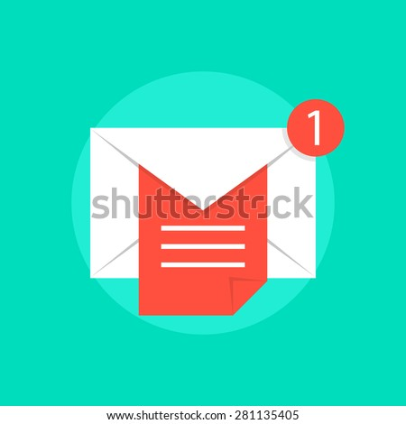 mail notice with white letter and red sheet. concept of support, spam, document, counter incoming, mobile apps. isolated on green background. flat style trend modern logo design vector illustration - stock vector