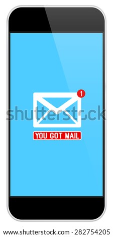 Mail Notification On Modern Black Smartphone Isolated On White - stock vector