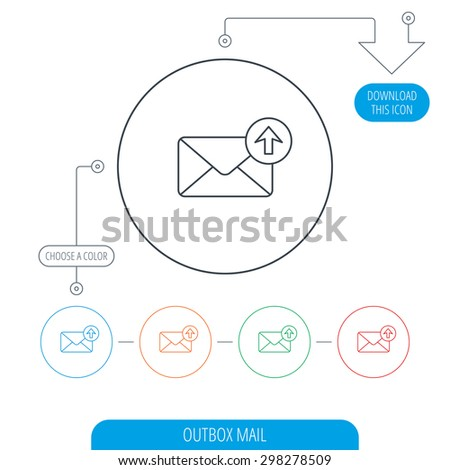 Mail outbox icon. Email message sign. Upload arrow symbol. Line circle buttons. Download arrow symbol. Vector - stock vector