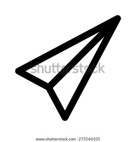 Mail paper airplane line art icon for apps and websites - stock vector