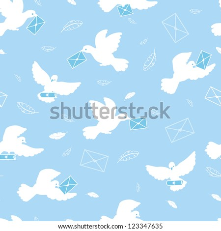 Mail pigeons vector seamless pattern background with hand drawn elements