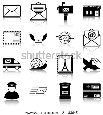 Mail related icons/ silhouettes. - stock vector