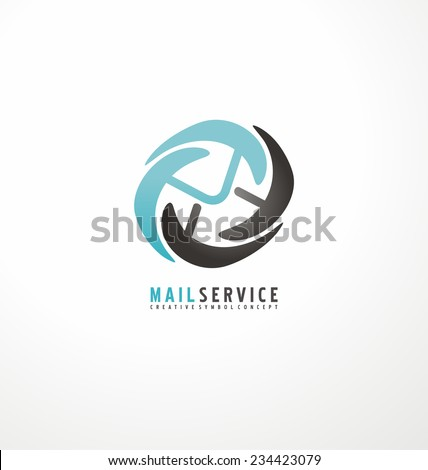 Mail service logo design template. Envelope vector symbol. Abstract internet icon template. - stock vector