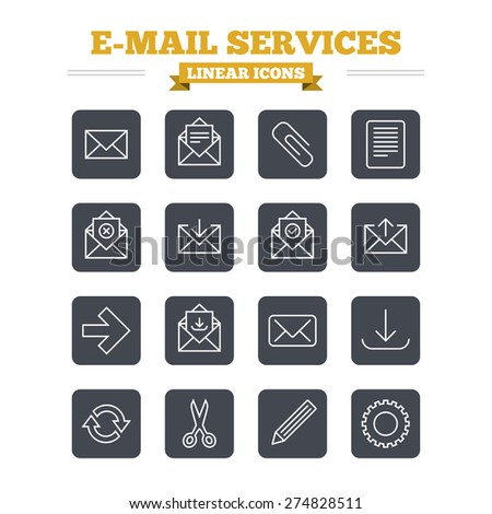 Mail services linear icons set. Send mail, paper clip and download arrow symbols. Scissors, pencil and refresh thin outline signs. Receive, select and delete mail. Flat square vector - stock vector