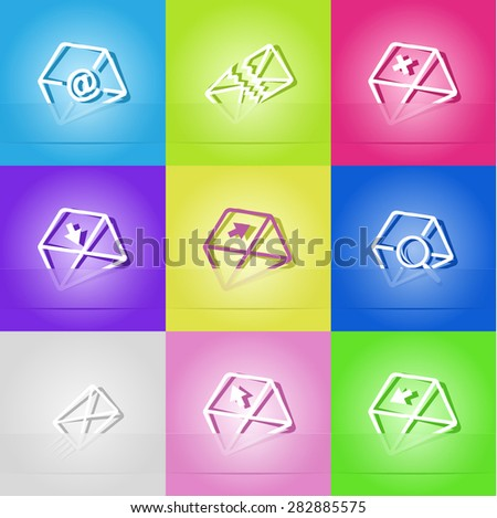 Mail set. Paper sticker as bookmark. Vector illustration. Eps10. - stock vector