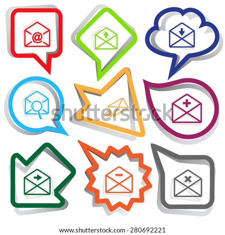 Mail set. Paper stickers. Vector illustration. - stock vector