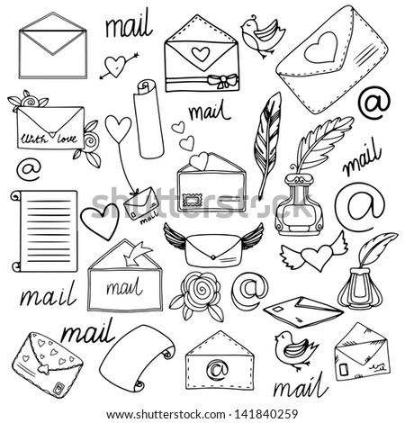 Mail set - vector - stock vector