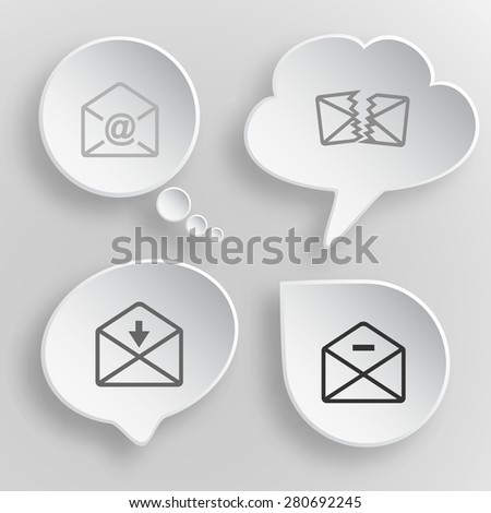 Mail set. White flat vector buttons on gray background. - stock vector