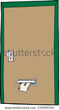 Mail slot in cartoon door over white background - stock vector