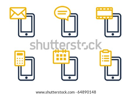 Mail, SMS, MMS, calculator, calendar and tasks. Icons are aligned according to the pixel grid. It means that the images are prepared to use in small-sizes. It's perfect for the Web. - stock vector