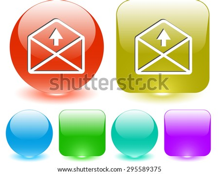 mail up arrow. Vector interface element. - stock vector