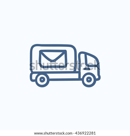 Mail van  vector sketch icon isolated on background. Hand drawn Mail van  icon. Mail van  sketch icon for infographic, website or app. - stock vector