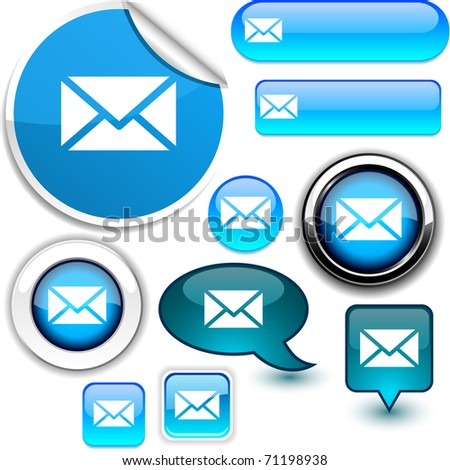 mail vector glossy icons. - stock vector
