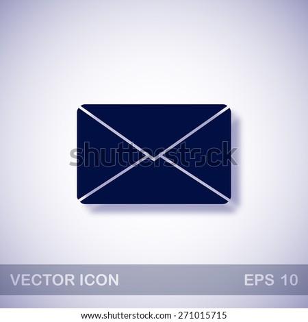 Mail vector icon - dark blue illustration with blue shadow - stock vector