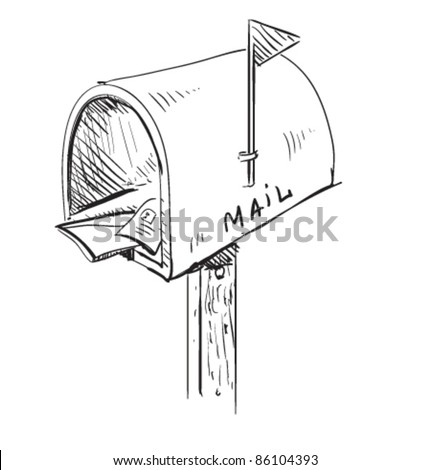 Mailbox cartoon icon. Sketch fast pencil hand drawing illustration in funny doodle style. - stock vector