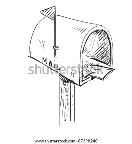 Mailbox cartoon icon. Sketch fast pencil hand drawing illustration in funny doodle style - stock vector