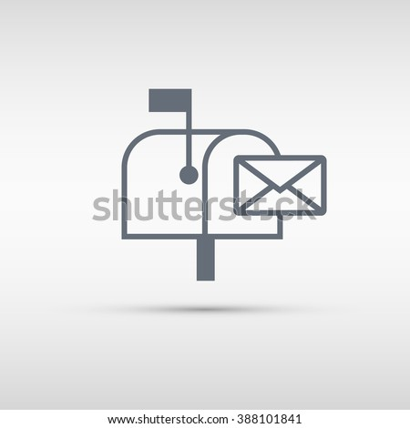 Mailbox icon. Mailbox sign or button isolated on grey background. Vector illustration. - stock vector