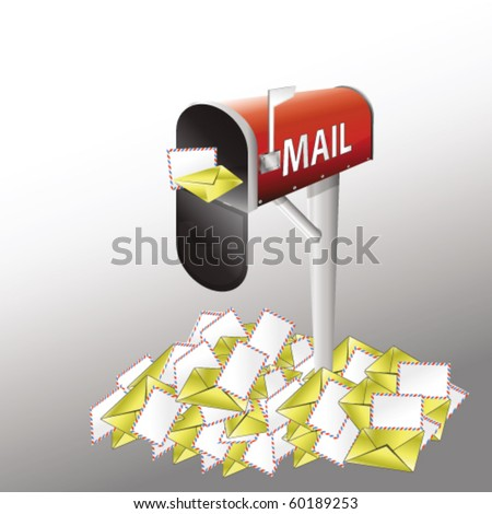 mailbox with pile of letters - stock vector