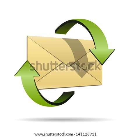 Mailing envelope or email symbol surrounded green circular arrows - icon isolated on white background. Vector - stock vector