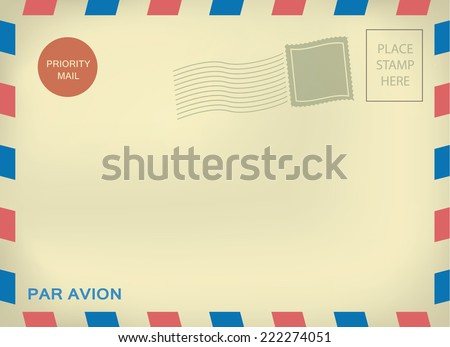 Mailing enveloper par avion template with blank stamps on aged textured paper