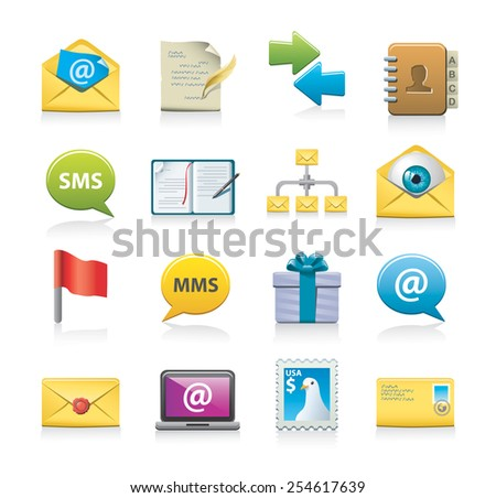 mailing icons - stock vector