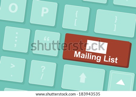 Mailing list words and symbol on  Keyboard  - stock vector