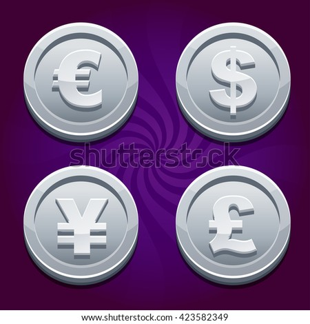 Main currencies symbols represented as shiny silver coins. Dollar, Euro, Pound and Yen - stock vector