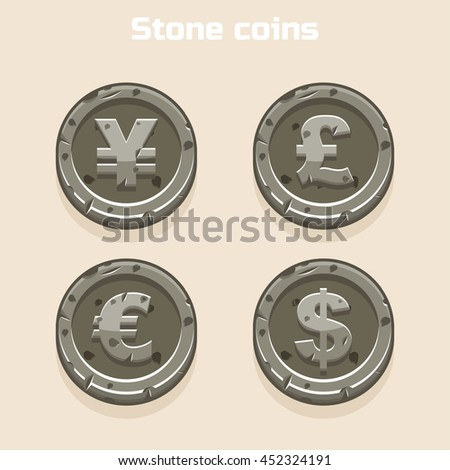 Main currencies symbols represented as shiny stone coins. Dollar, Euro, Pound and Yen - stock vector