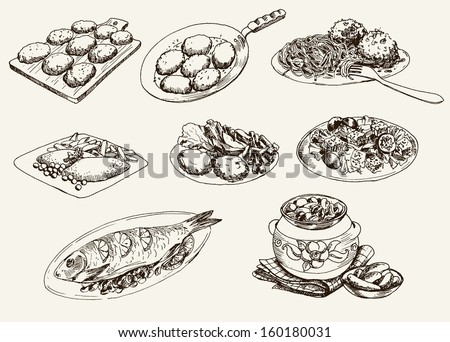 main dishes. set of vector sketches - stock vector