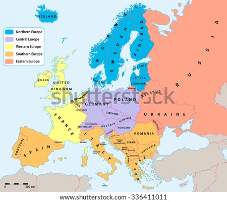 Main european regions map. All data are in layers for easy editing vector map. Europe map background for your infographics. - stock vector