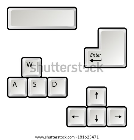 Main keyboard buttons - stock vector
