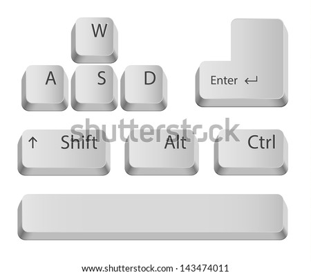 Main keyboard buttons for games or apps. Isolated on white. - stock vector
