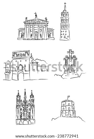 Main landmarks of Vilnius, capital city of Lithuania: Vilnius Cathedral and belfry, Ausros gate, Hill of the three crosses, St. Anne's church, Gediminas Castle - stock vector