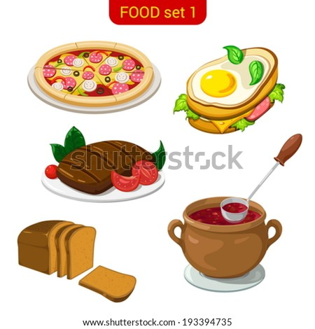 Main meal menu vector icon set. Pizza, fried eggs, steak, soup, bread.  Food collection. High detail. - stock vector