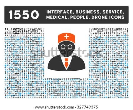 Main Physician and other web interface, business tools, people poses, medical service vector icons. Style is flat symbols, bicolored, rounded angles, white background. - stock vector