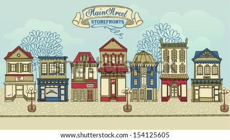 Main Street Storefronts - Hand drawn street with a row of colorful stores, street lights and high street banner - stock vector